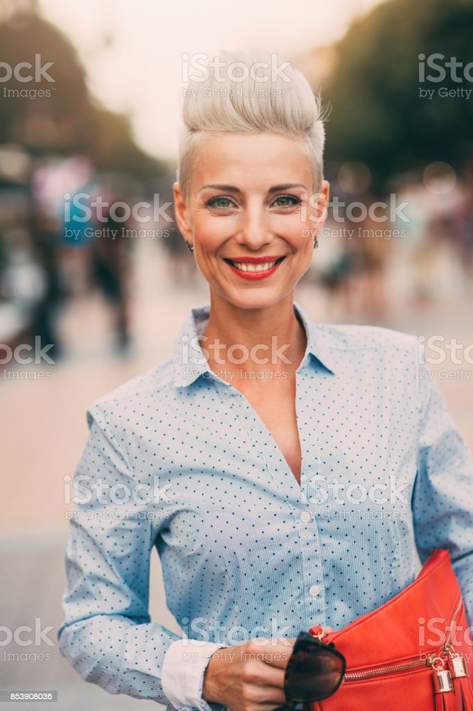 Beautiful elegant middle aged woman stock photo