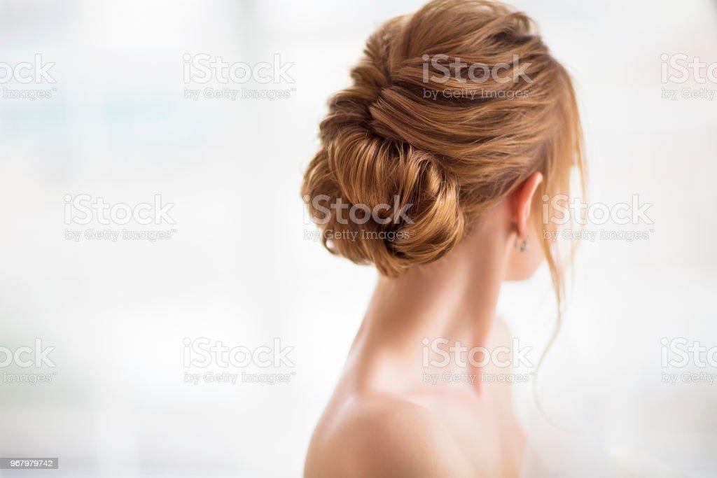 Beautiful elegant wedding hairstyle stock photo