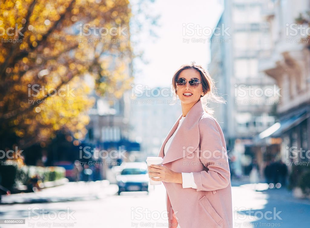 Beautiful elegant woman outdoors stock photo