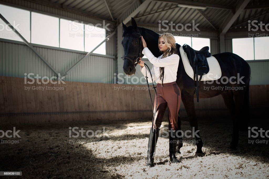 Beautiful elegant young blonde girl standing near her horse dressing uniform competition stock photo