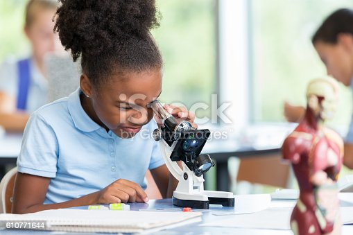 istock Beautiful elementary schoolgirl uses a microscope for science project 610771644
