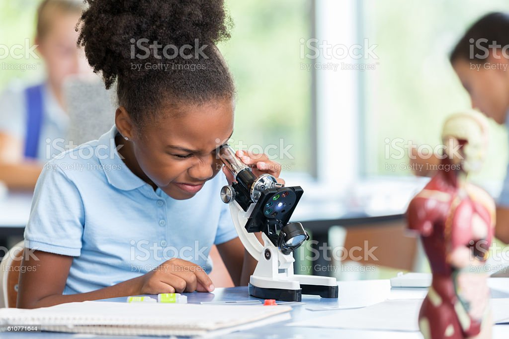 Beautiful elementary schoolgirl uses a microscope for science project stock photo
