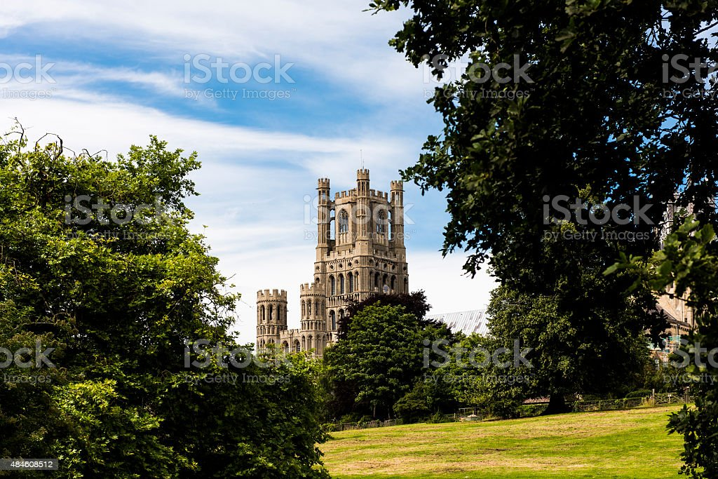 Beautiful Ely Cathedral which towers over the quaint city stock photo