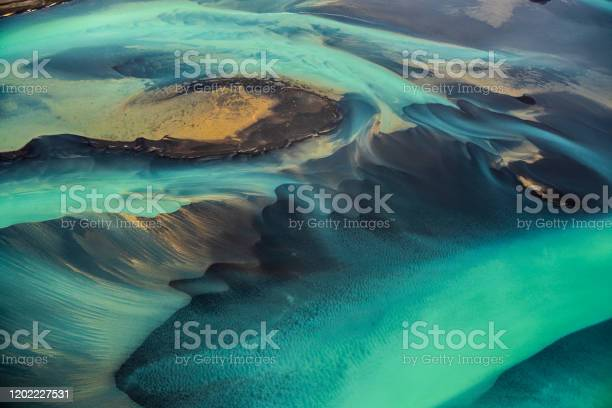 Photo of Beautiful emerald-colored glacial rivers of Iceland, taken from a helicopter
