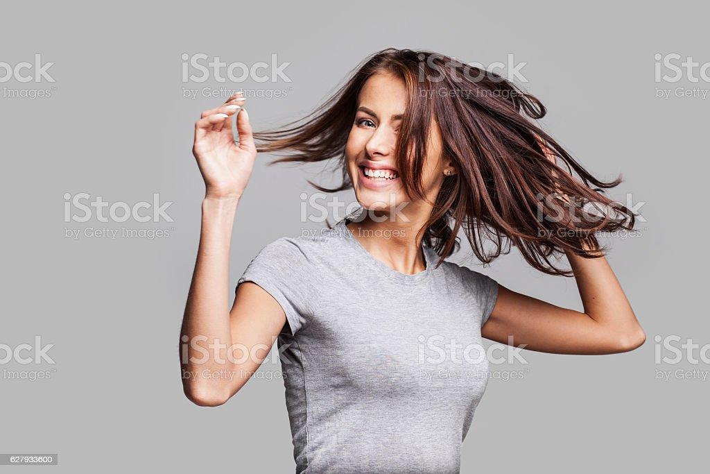 Beautiful emotional woman enjoying life stock photo