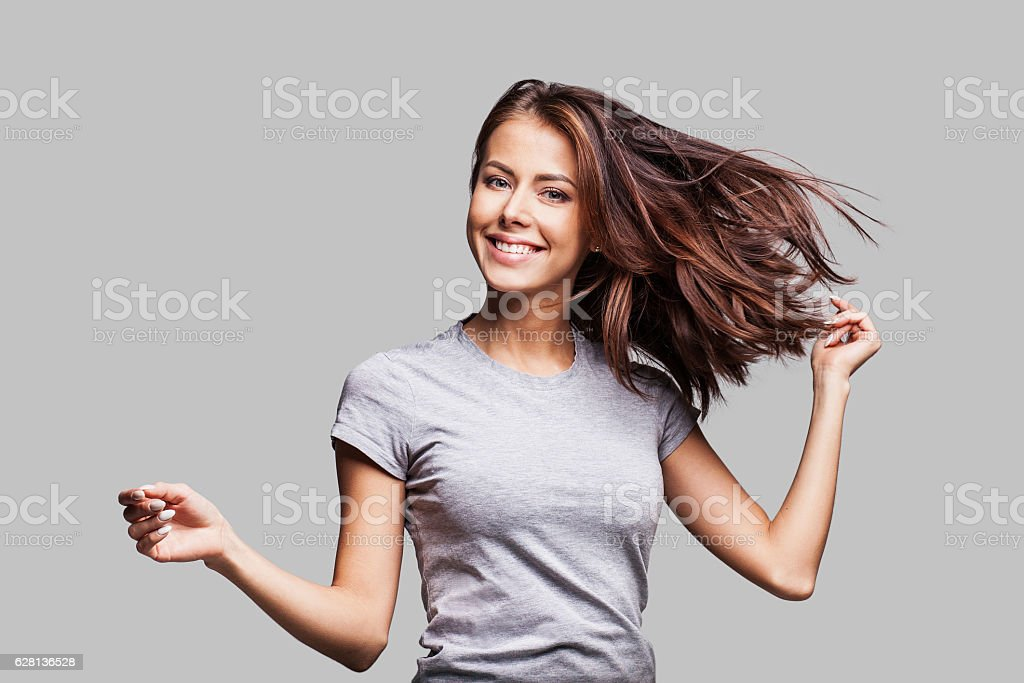 Beautiful emotional woman enjoying life stock photo