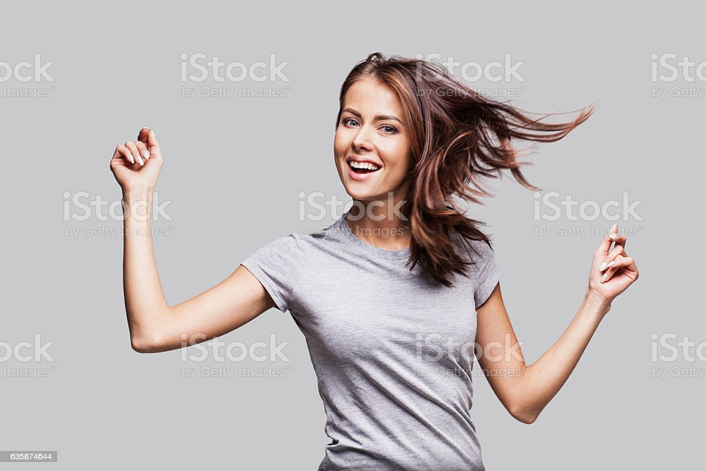 Beautiful emotional woman having fun – Foto