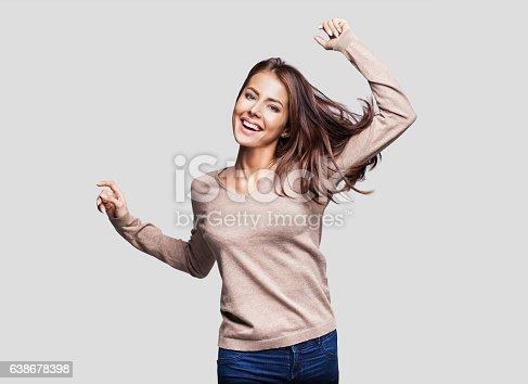 638678178 istock photo Beautiful emotional woman having fun 638678398