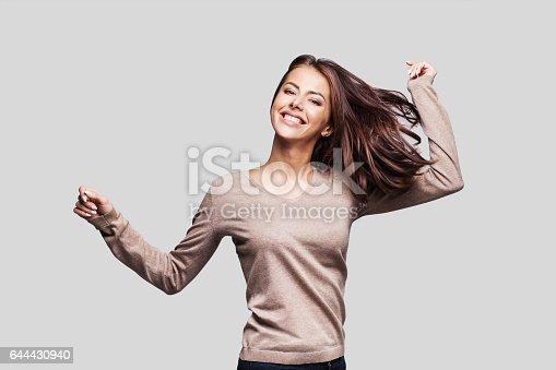 638678178 istock photo Beautiful emotional woman having fun 644430940