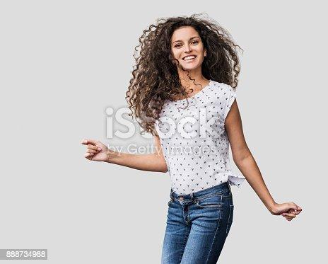 638678178 istock photo Beautiful emotional woman having fun 888734988