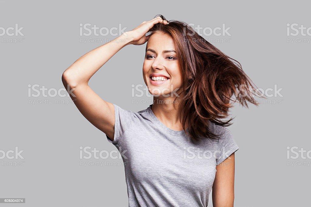 Beautiful emotional woman portrait stock photo