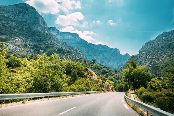 Beautiful Empty Asphalt Freeway, Motorway, Highway Against Mountains Background. Travel Road Concept. France stock photo