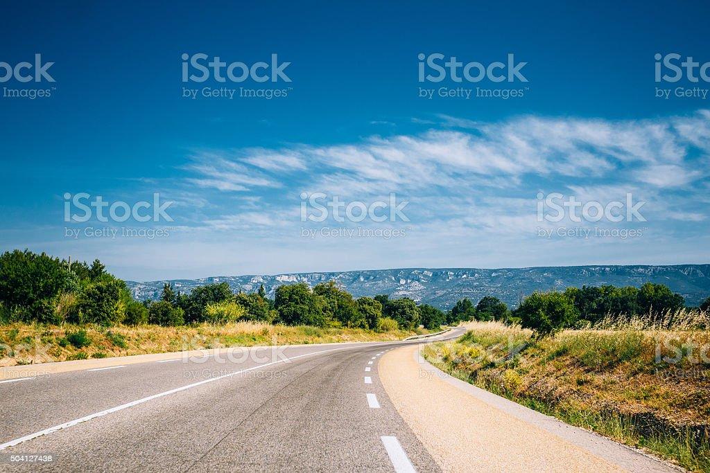 Beautiful empty asphalt freeway, motorway, highway in Provence, stock photo