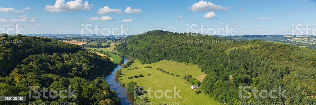 Beautiful English countryside the Wye Valley panoramic view stock photo