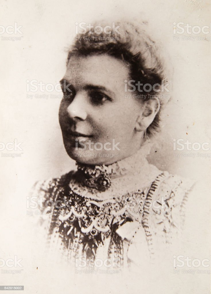 Beautiful english woman vintage portrait 1900th stock photo