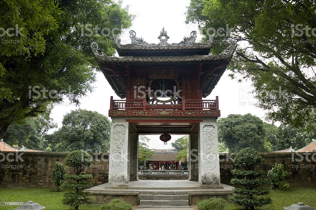 Beautiful Entrance At The Temple Of Literature (Van Mieu) Hanoi stock photo