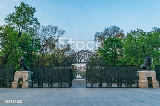 istock Beautiful entrance to Chapultepec forest on blue sky 1095612100