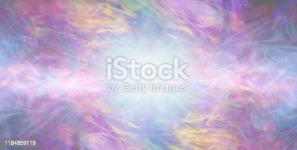 artistic gaseous flowing background with copy space and  central blue white light burst