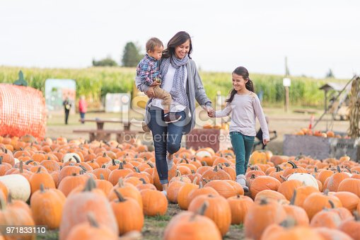An attractive ethnic mom holds her daughter's hand and holds her son in her arms on a visit to the pumpkin patch. They're smiling as they navigate their way through a field filled with pumpkins.