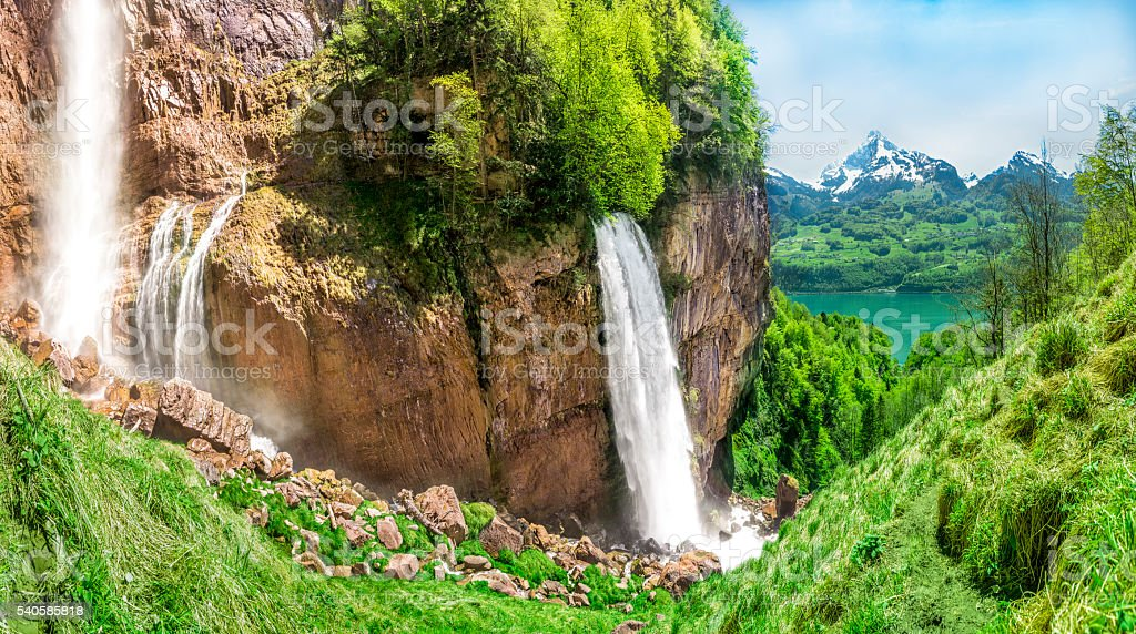Beautiful european cascade, on a spring day stock photo