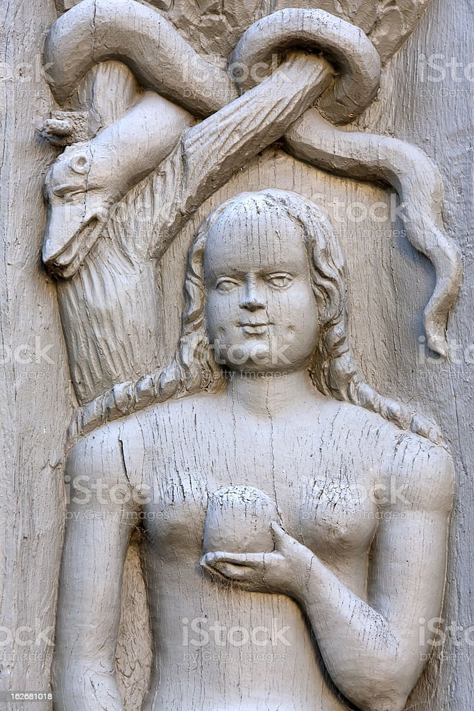 Beautiful Eva, detail from a medieval building royalty-free stock photo