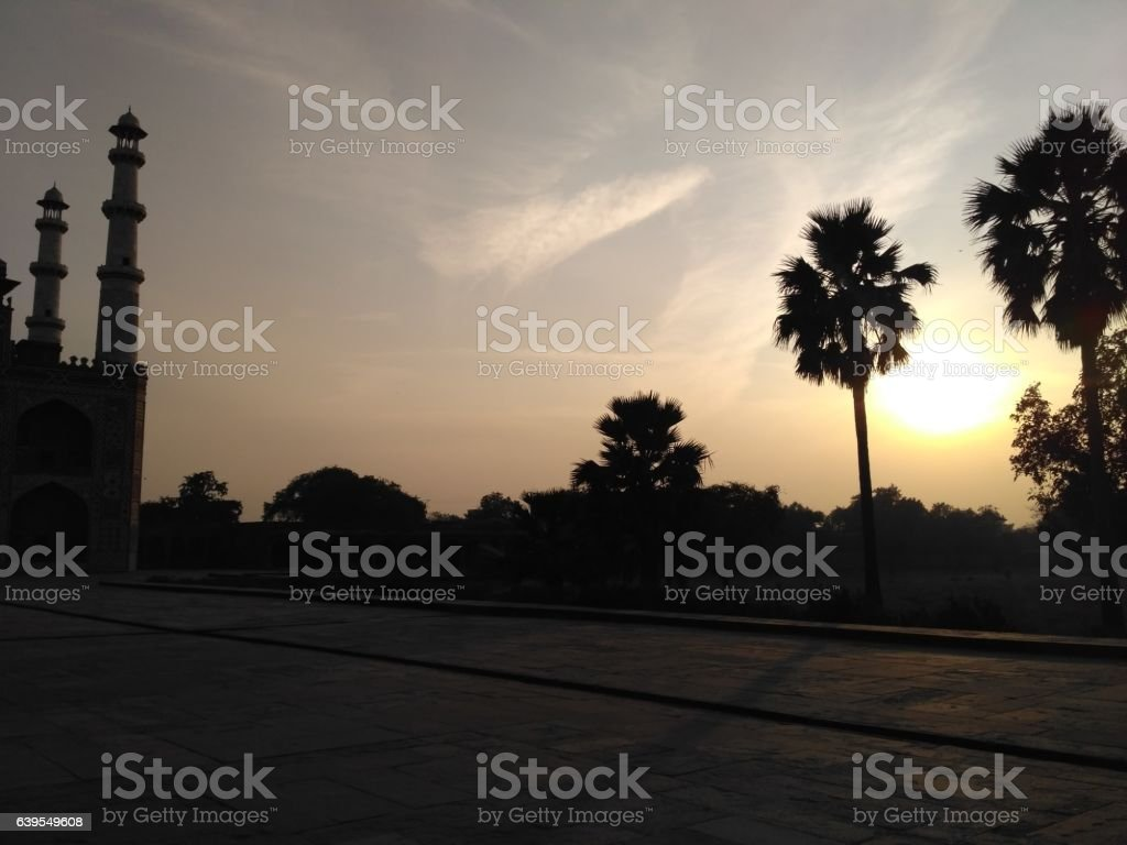 Beautiful evening in Sikandra Agra stock photo