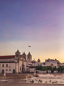 Beautiful Evening Mood at Plaza Lagos (Praça do Infante D. Henrique) with the Igreja de Santa Maria de Lagos in Lagos, Portugal – due to COVID-19 one of the main places is quite empty