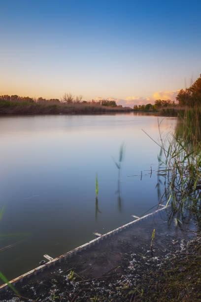 Beautiful evening on the coast of scenic calm lake stock photo