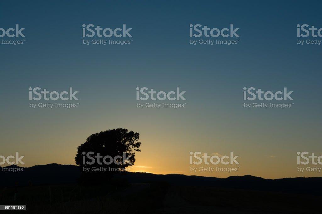 Beautiful evening sky in Biei stock photo