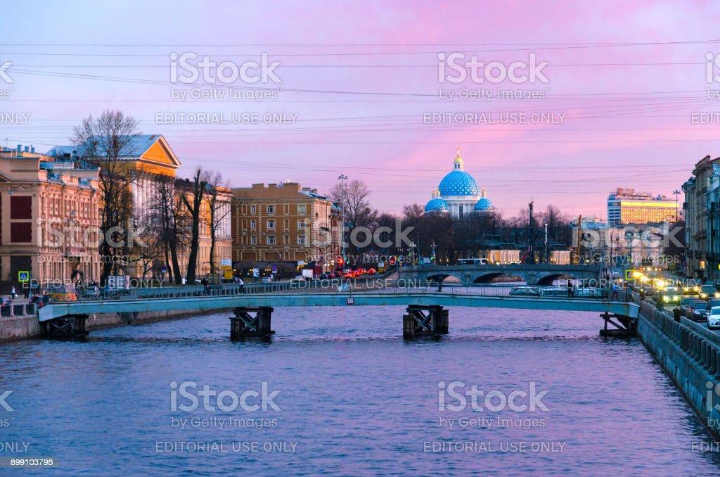 Beautiful evening view of Fontanka River embankment, St. Petersburg, Russia stock photo