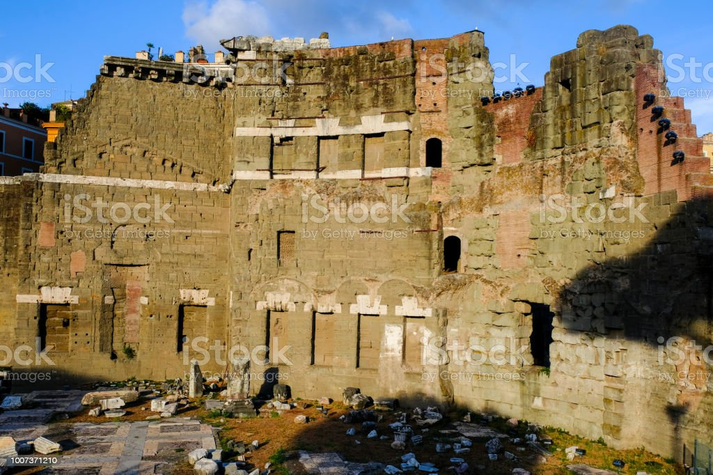 Beautiful evening view of the forum of Augustus, ruins of Ancient...