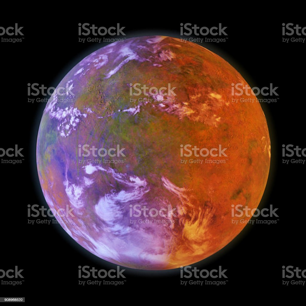 beautiful exoplanet lit by an alien binary star isolated on black background (3d space illustration, elements of this image are furnished by NASA) stock photo