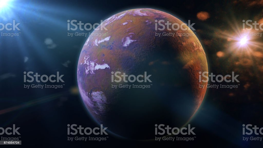 beautiful exoplanet orbiting an alien binary star system (3d space illustration) stock photo