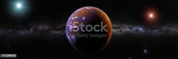 istock beautiful exoplanet orbiting an alien binary star system 913268430