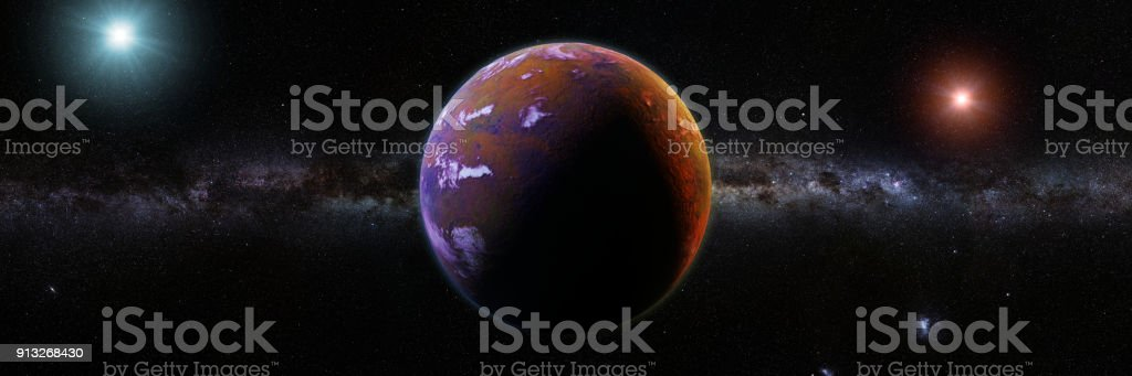 beautiful exoplanet orbiting an alien binary star system stock photo
