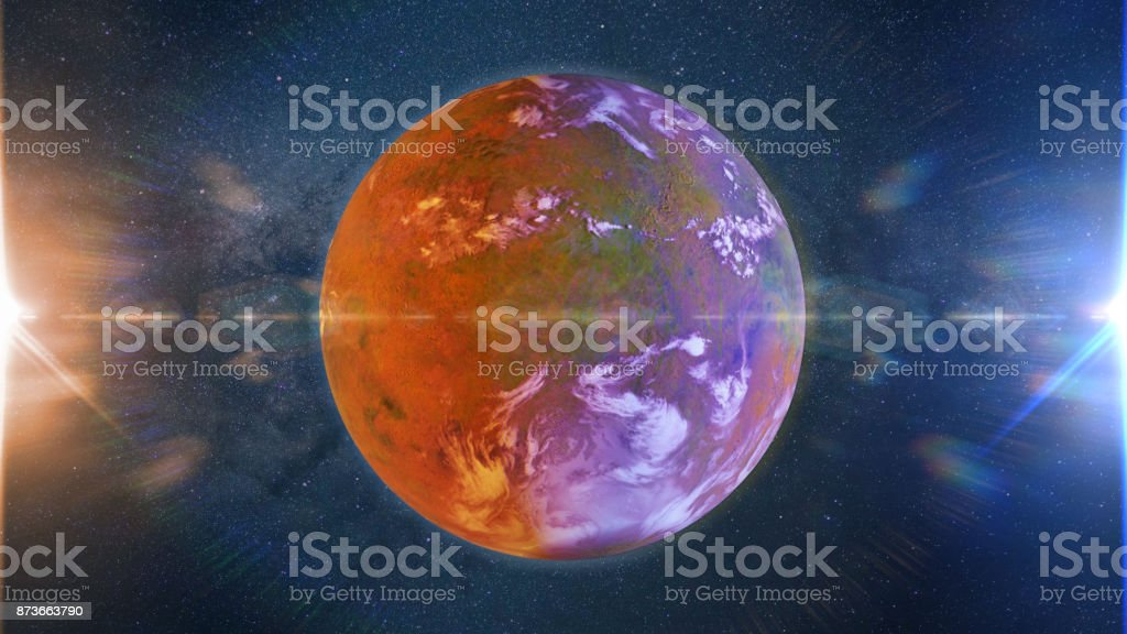 beautiful exoplanet, part of an alien binary star system with a red and blue star (3d space illustration) stock photo