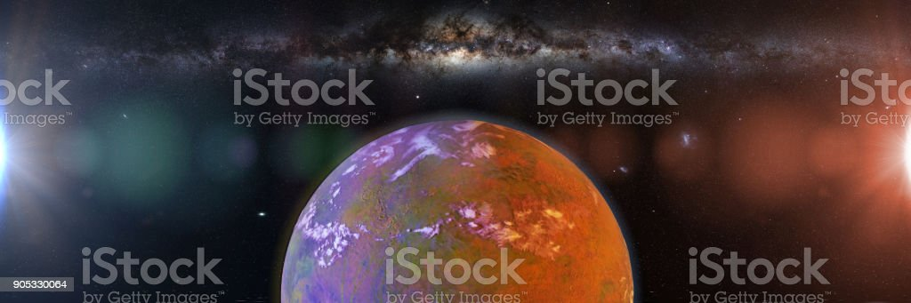 beautiful exoplanet, part of an alien binary star system with a red and blue star (3d space illustration banner) stock photo