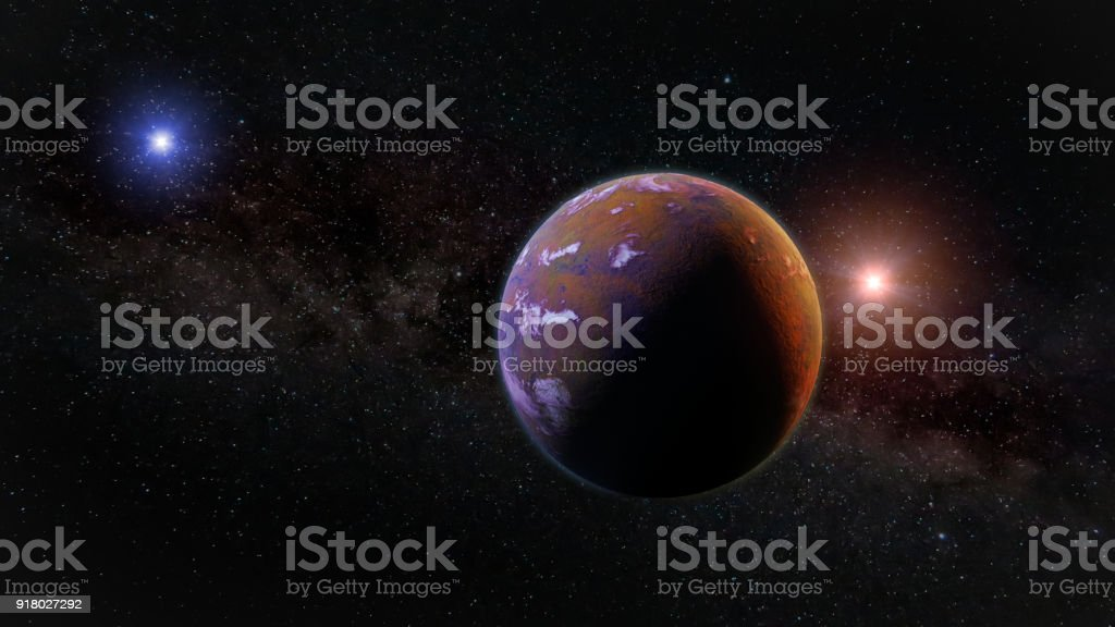 beautiful exoplanet, part of an alien binary star system with a red and blue star stock photo