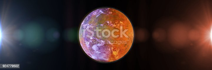 istock beautiful exoplanet, part of an alien binary star system with a red and blue star 924779502