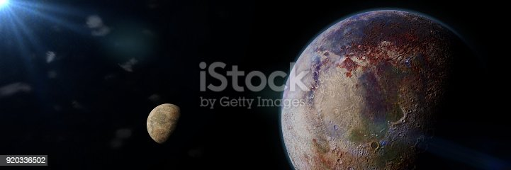 istock beautiful exoplanet with exomoon lit by an alien star 920336502