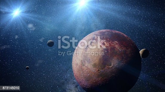 istock beautiful exoplanet with exo-moons orbiting an alien binary star system (3d space illustration, elements of this image are furnished by NASA) 873145010