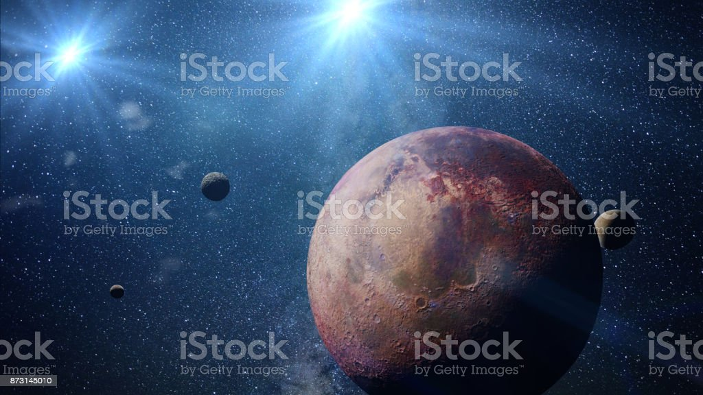 beautiful exoplanet with exo-moons orbiting an alien binary star system (3d space illustration, elements of this image are furnished by NASA) stock photo