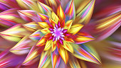 Colorful bright exotic flower. Spiral petals. 3D surreal illustration. Sacred geometry. Mysterious psychedelic relaxation pattern. Fractal abstract texture. Digital artwork graphic astrology magic