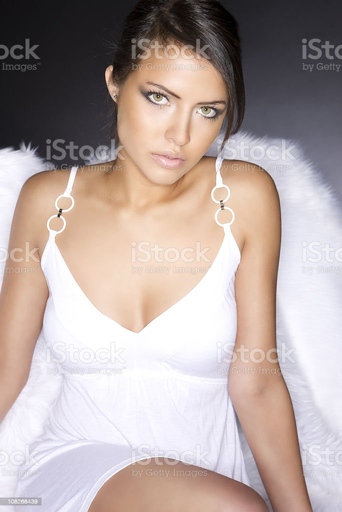 Beautiful Exotic Young Woman Fashion Model in White Lingerie royalty-free stock photo