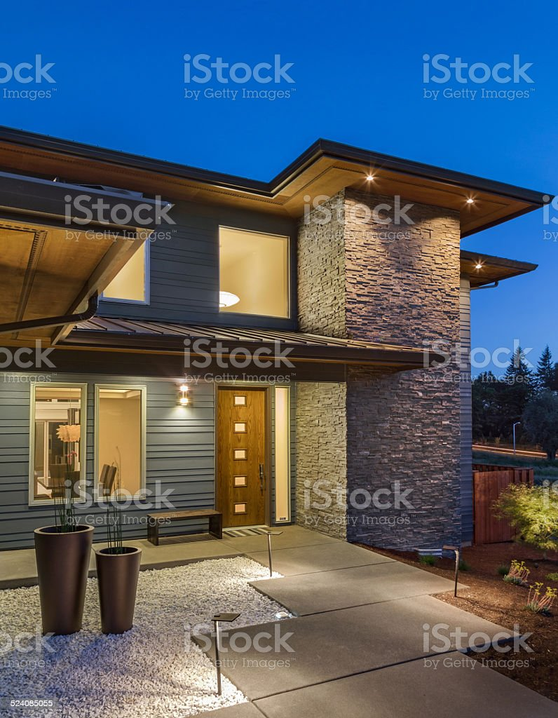 Beautiful Exterior Home Design Trends: Beautiful Exterior Of New Luxury Home At Twilight Stock