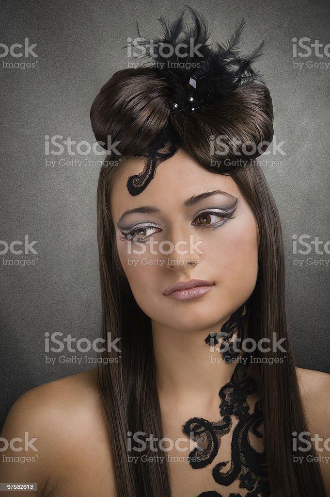Beautiful eyes and wonderful hairstyle royalty-free stock photo