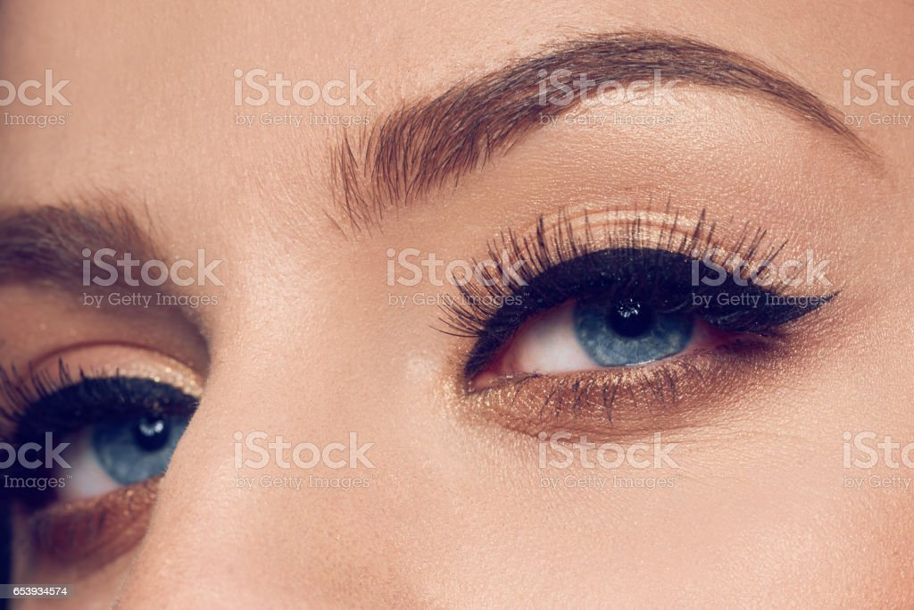 beautiful eyes with makeup stock photo