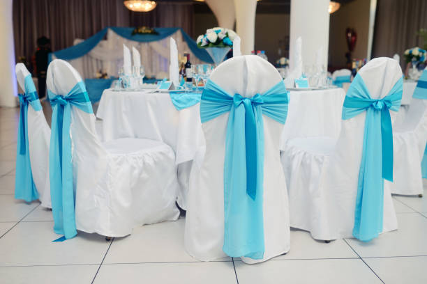 Beautiful fabric bow on the chair stock photo
