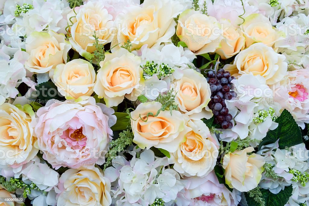 beautiful fabric rose flower stock photo