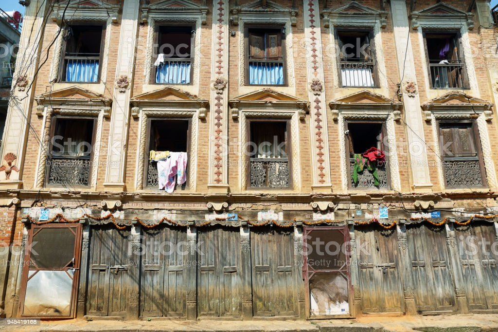 Beautiful facade building in Panauti stock photo